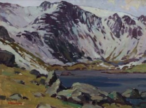 Lot 20-Donald McIntyre, Cwm Idwal from the shores of Llyn Idwall, oil