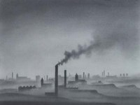 128 - Trevor Grimshaw, Urban landscape with smoking chimneys, pencil