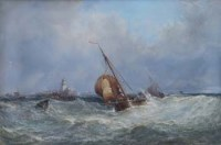 176 - Edwin Hayes, Fishing boats in stormy seas, watercolour