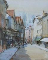 196 - Noel H. Leaver, The Shambles looking Towards York Minster, watercolour