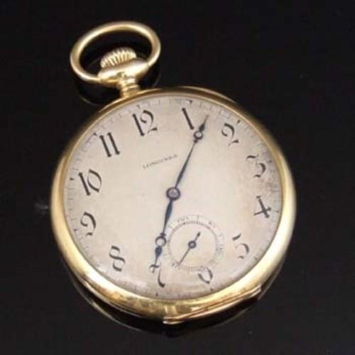 Lot 317-Longines 18k gold open-faced pocket watch