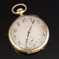 317 - Longines 18k gold open-faced pocket watch