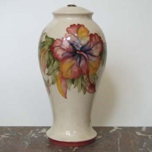 Lot 559 - Moorcroft Hibiscus lamp base