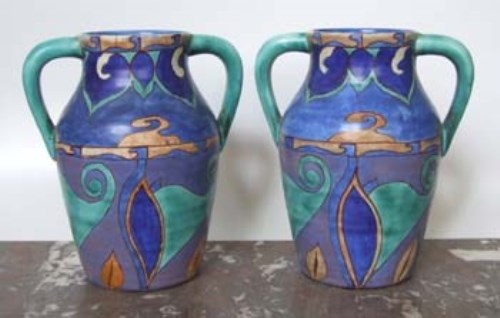 Lot 565-Clarice Cliff Vases