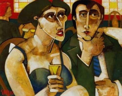 Lot 1-Geoffrey Key, The Wine Bar, oil