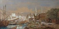 174 - G.H. Andrews, The Fruit Wharf, Constantinople, watercolour