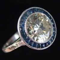 Lot 262-3.30ct sapphire and diamond platinum ring