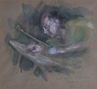 86 - Harold Riley, Self-portrait study - Salford, mixed media