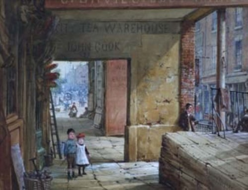 Lot 113-Louise Rayner, Shoemaker's Row, Chester, watercolour