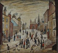9 - Arthur Delaney, Street scene with figures, oil
