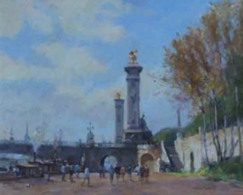 Lot 25-Gordon Radford, Pont Alexandre, Paris, oil