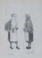 107 - Tom Dodson, Mill Girls, pencil