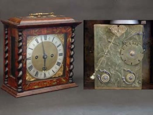 Lot 682-Marquetry table or bracket clock