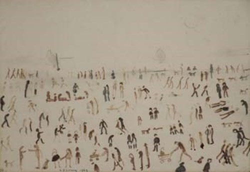 Lot 205-L.S. Lowry, Beach scene, felt tip over pencil