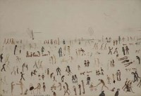 205 - L.S. Lowry, Beach scene, felt tip over pencil