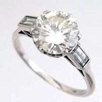 Lot 497-Platinum and diamond single stone ring, approx
