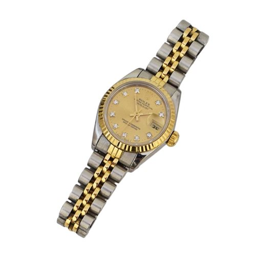 Lot 90-Ladie's Oyster Perpetual Datejust stainless steel and yellow gold Rolex bracelet watch