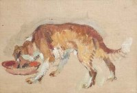 1 - Pierre Adolphe Valette, study of a dog, oil
