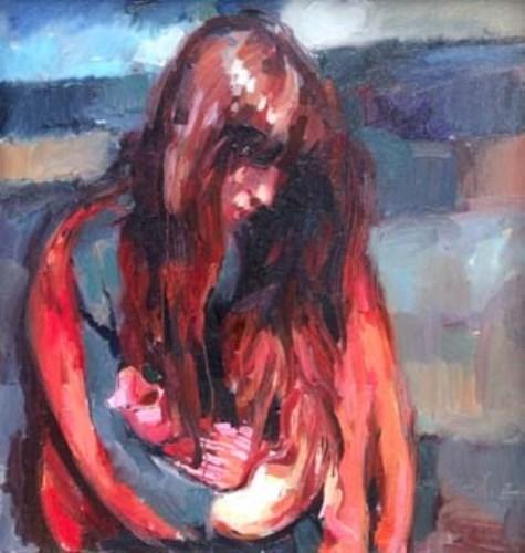 49 - Robert Lenkiewicz, girl with waterbottle, oil