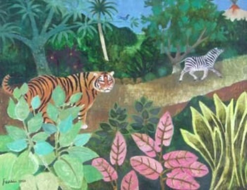 Lot 53-Mary Fedden, Tropical forest with tiger and zebra, oil
