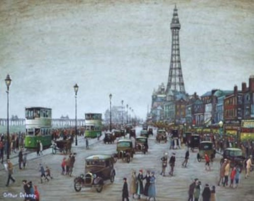 57 - Arthur Delaney, The Golden Mile and The Tower, Blackpool, oil