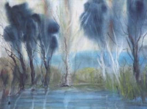 127 - Helen Bradley, Late September by a lovely tarn on Hampsfell., watercolour