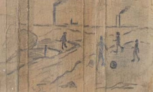 Lot 168-L.S. Lowry, figures playing football, pencil