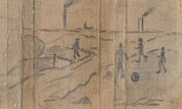 168 - L.S. Lowry, figures playing football, pencil