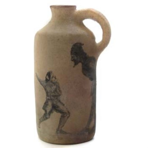 639 - Martinware jug painted with figures