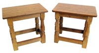 "438 - Robert ""Mouseman"" Thompson two matching occasional tables or stools."