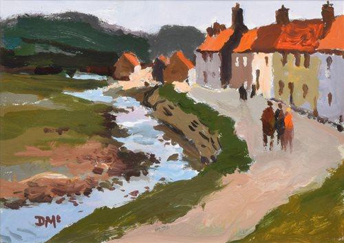 "269 - Donald McIntyre, ""Village by a Stream"", acrylic."