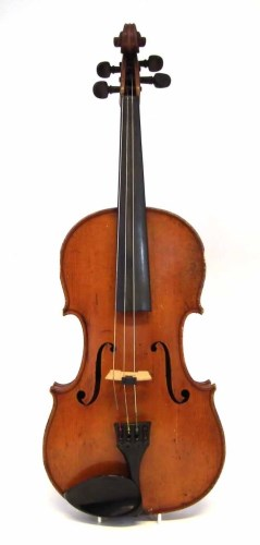Lot 77-Viola After Stradivari with two bows, chin rest
