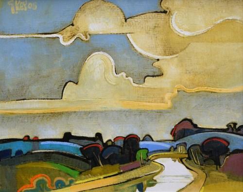 350 - Geoffrey Key, Bend in the River, oil.