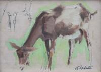 367 - Pierre Adolphe Valette, Goat study, oil.