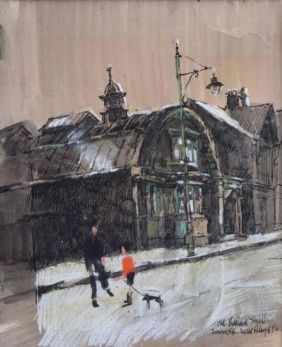436 - Harold Riley, Old Billiard Hall, Liverpool Road, Eccles, ink and pastel.