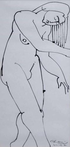 438 - Geoffrey Key, Figure Study, ink.