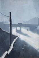 467 - Harold Riley, Moonlit townscape with lorry crossing a bridge, oil.