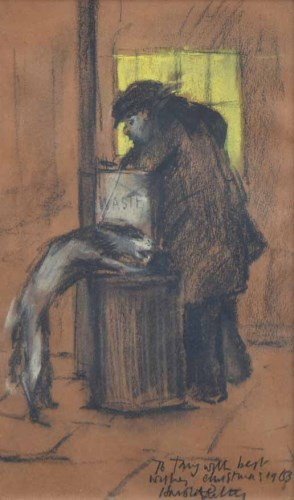 471 - Harold Riley, Putting out the waste, pastel.