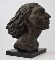 525 - Benno Schotz, Female portrait bust, bronze.