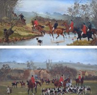 Lot 541-Sylvester Martin, Hunting scenes, oil (2).