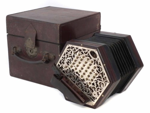 Lot 45-Lachenal & Co. 56 key concertina, with pierced