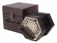 45 - Lachenal & Co. 56 key concertina, with pierced