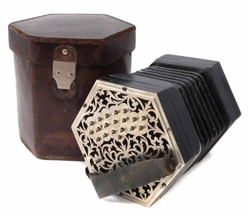 Lot 48-Charles Jeffries 39 key concertina, with pierced