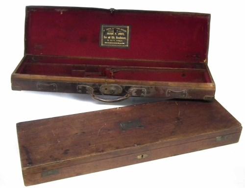 Lot 68-William P. Jones leather gun case and mahogany