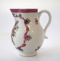 Lot 167-Lowestoft cream jug circa 1770, painted with
