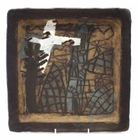 266 - John Maltby (1936-) large square dish, painted