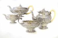 344 - Georgian silver four piece tea set and sucrier