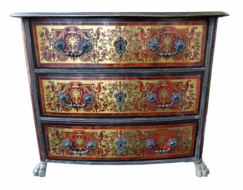 630 - Mid 19th century Louis XV style boulle veneered bow front chest of three drawers,