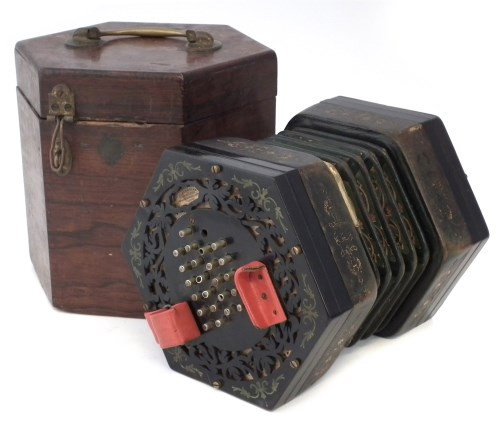 Lot 29-George Case 48 key Concertina, with Boosey &