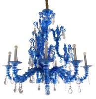 67 - Barovier & Toso Murano glass chandelier in blue, model no. 5350/09, size 53in high, 49in across.
